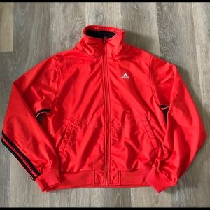 🧢 Adidas medium sized orange and blue jacket coat